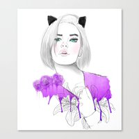 meow Canvas Prints featuring MEOW  by Sara Eshak