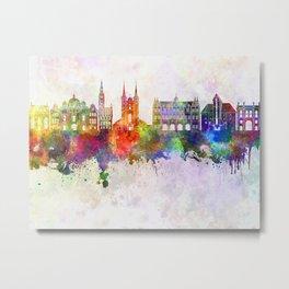 Gdansk skyline in watercolor background Metal Print