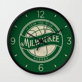 Milwaukee basketball green vintage logo Wall Clock