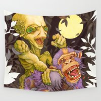ape Wall Tapestries featuring Alien & Ape (True Love) by reservenote