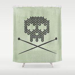 Knitted Skull / Knitting with Attitude (Black on Greenish Grey) Shower Curtain