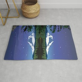 Mt Adams and Stars and Tree Rug