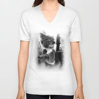 koala V-neck T-shirts featuring Koala by Alan Hogan