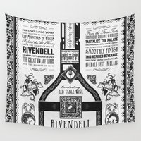 lord of the rings Wall Tapestries featuring Lord of the Rings Rivendell Vineyards Vintage Ad by Barrett Biggers