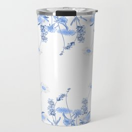 Wild Flowers in Blue and White Travel Mug