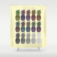 pineapples Shower Curtains featuring Pineapples by Hinterlund