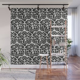William Morris style Black & white pattern Wall Mural