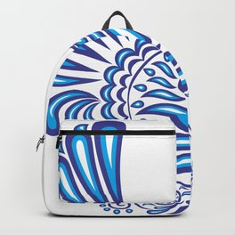 Abstract gzhel bird with ornament Backpack