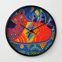 lost in translation Wall Clocks featuring Lost in Translation by Adrienne S. Price
