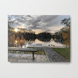 Enjoy an Early Morning Seat at the Duck Pond Metal Print
