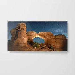 Broken Arc  Night Sky Utah Arches National Park at Devils Garden Campground Metal Print