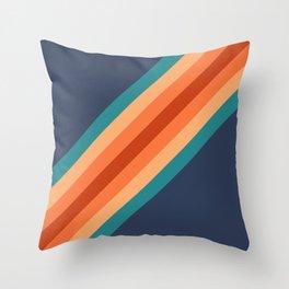 Blue & Orange Retro Stripes Throw Pillow