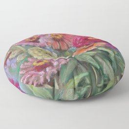 Autumn FLOWERS in the garden Still Life Pastel drawing Pink Purple Decorative Painting Floor Pillow