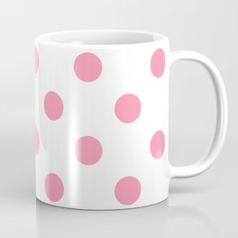 Polka Dots - Flamingo Pink on White Coffee Mug
