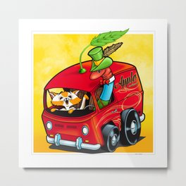 Scary Apple Delivery Metal Print