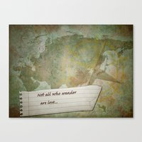 not all who wander Canvas Prints featuring Not all who wander by Lily Mondale