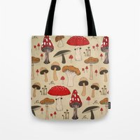 mushrooms Tote Bags featuring Mushrooms by Lynette Sherrard Illustration and Design
