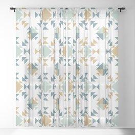 Fall Quilt Blocks Sheer Curtain