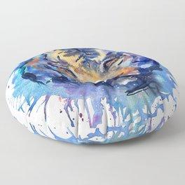 Watercolor Splatter Tiger Floor Pillow