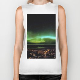 Northern Lights and the Rocky Shore Biker Tank
