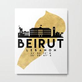 BEIRUT LEBANON SILHOUETTE SKYLINE MAP ART Metal Print