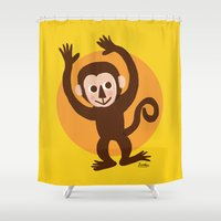 monkey Shower Curtains featuring Monkey by BATKEI