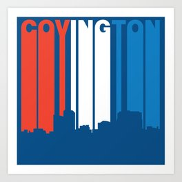 Red White And Blue Covington Kentucky Skyline Art Print