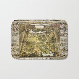Map Of Central Park 1863 Bath Mat