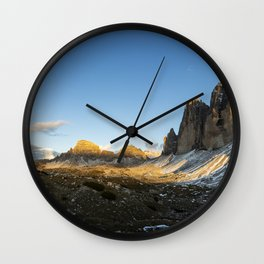 Tre Cime sunset panorama Wall Clock