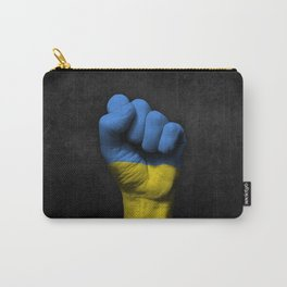 Ukrainian Flag on a Raised Clenched Fist Carry-All Pouch