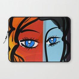 Red Blue Pop Girl Portrait Expressionist Art Laptop Sleeve