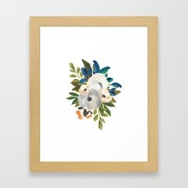 Sweet Blooms - Blue & Cream Framed Art Print