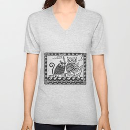 The Owl And The Pussycat (white background) Unisex V-Neck