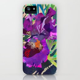 Watercolor Iris Flower with Shadows - Bright Purple & Pink iPhone Case