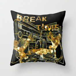 Break Time (black and gold vers.) Throw Pillow