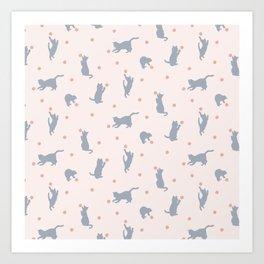Polka Dot Cats Art Print