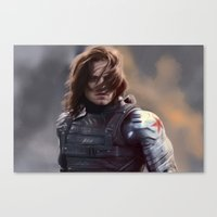 the winter soldier Canvas Prints featuring Winter Soldier by LindaMarieAnson