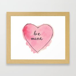 Watercolor BE MINE Heart Framed Art Print