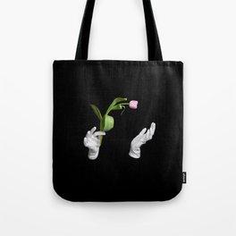 Pink fresh tulip in wizard hands Tote Bag