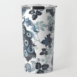Blue Chinoiserie, peacocks, blue and white, chintz pattern Travel Mug