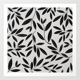 Black and White Plant Leaves Pattern Art Print