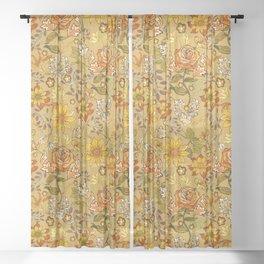 Rose vintage inpsired retro, warm colors 70s, boho Sheer Curtain