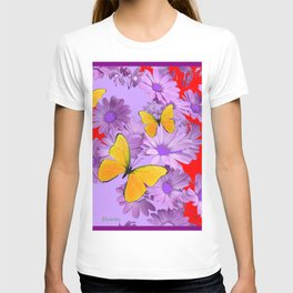 Red Yellow Butterflies Lilac Color Purple Daisies T-shirt