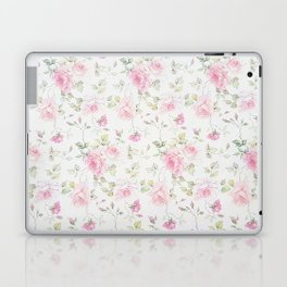 Elegant blush pink white vintage rose floral Laptop & iPad Skin