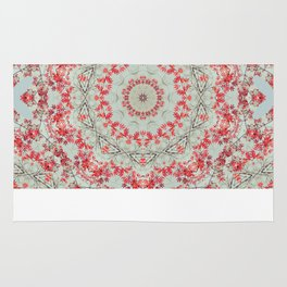 Flight of the Red Maple Tree -- Dreamy Mandala, Medallion, Kaleidoscope in Vintage Tones Rug