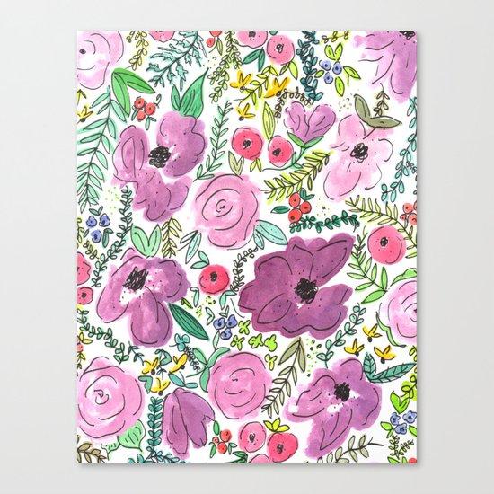 Purple Floral Design - Watercolor Painting  Canvas Print
