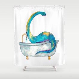 Brontosaurus taking bath dinosaur painting Shower Curtain