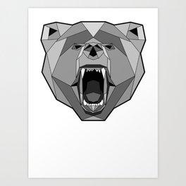 Geometric Bear Face Art Print