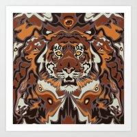 tigers Art Prints featuring Tigers by Darish