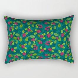 Cranberry Fruit Pattern on Dark Teal Rectangular Pillow